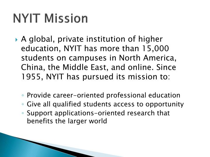 NYIT Mission