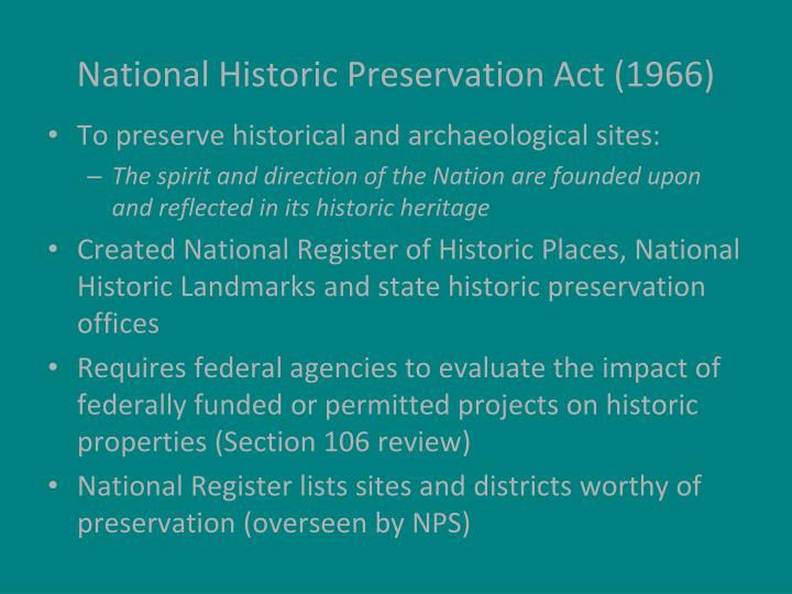 National Historic Preservation Act (1966)