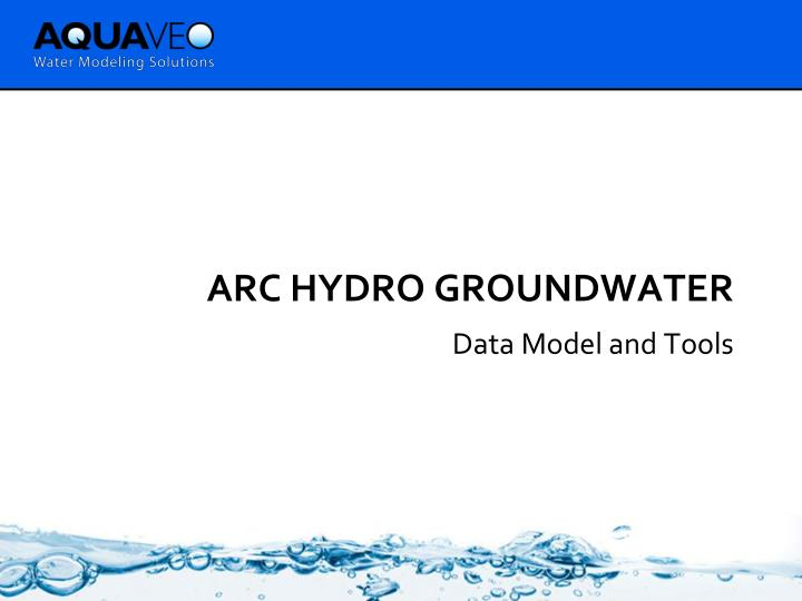 Arc hydro groundwater