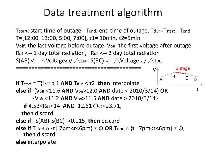 Data treatment algorithm