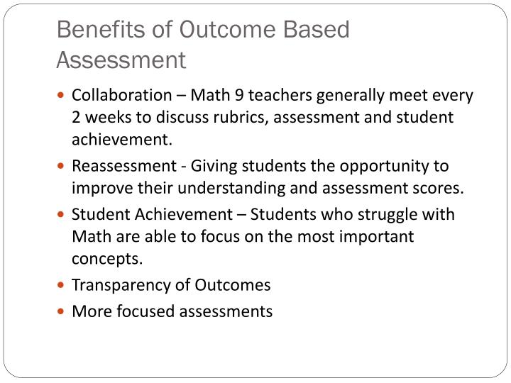 Benefits of Outcome Based Assessment