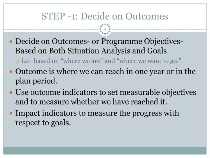 STEP -1: Decide on Outcomes