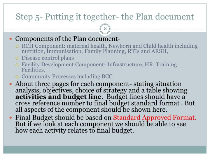 Step 5- Putting it together- the Plan document