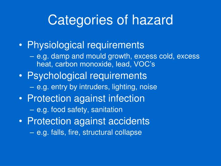 Categories of hazard