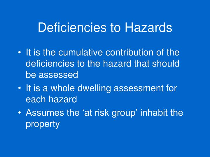 Deficiencies to Hazards
