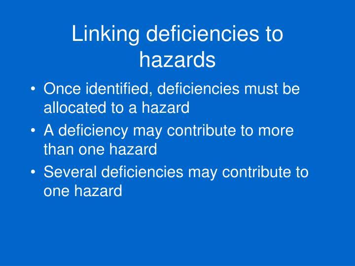 Linking deficiencies to hazards