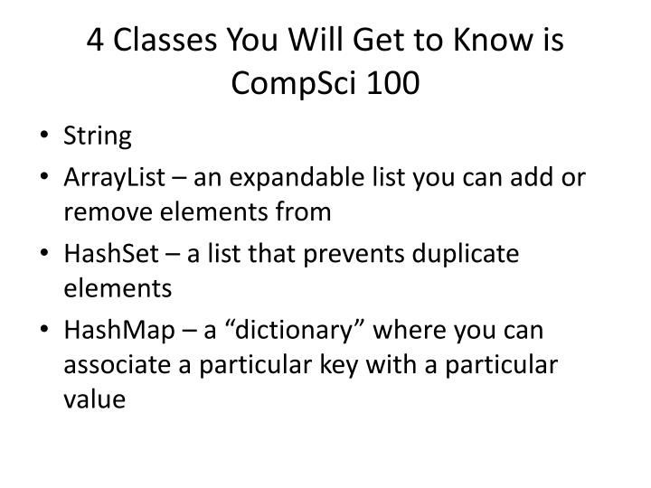 4 Classes You Will Get to Know is