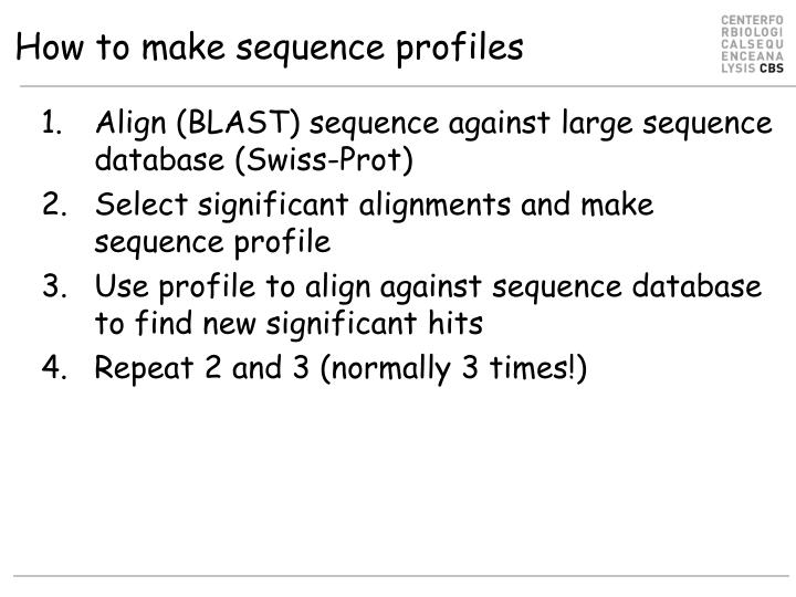 How to make sequence profiles
