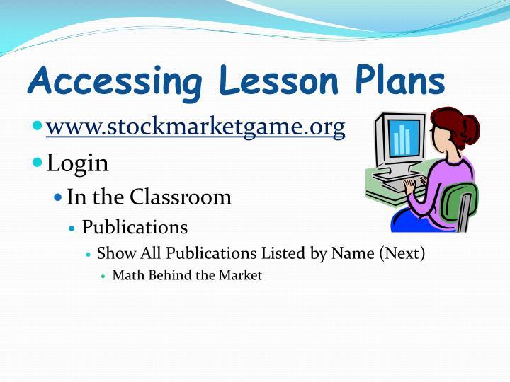 Accessing Lesson Plans