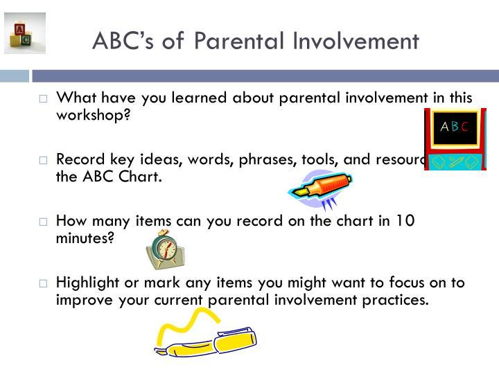 ABC's of Parental Involvement