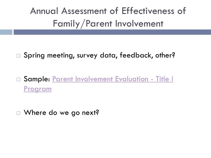 Annual Assessment of Effectiveness of Family/Parent Involvement