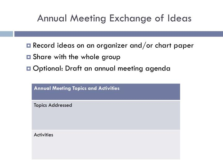 Annual Meeting Exchange of Ideas
