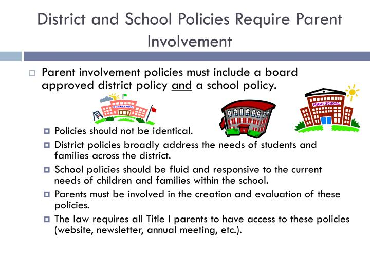 District and School Policies Require Parent Involvement