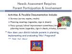 needs assessment requires parent participation involvement