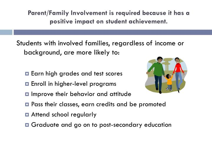 Parent/Family Involvement is required because it has a positive impact on student achievement.