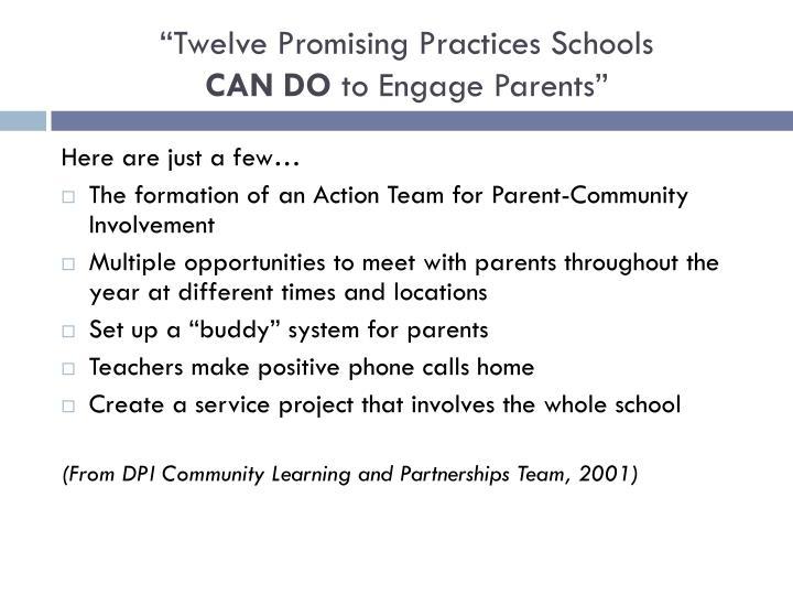 """""""Twelve Promising Practices Schools"""