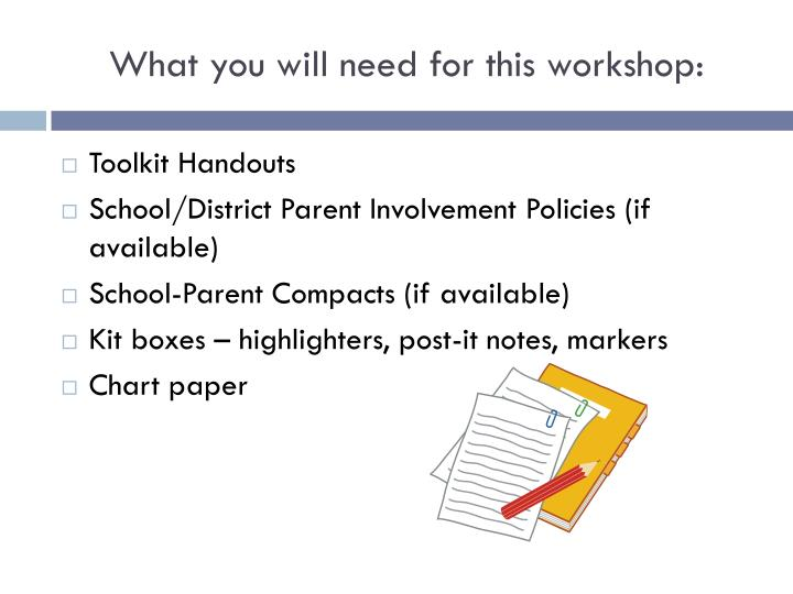 What you will need for this workshop:
