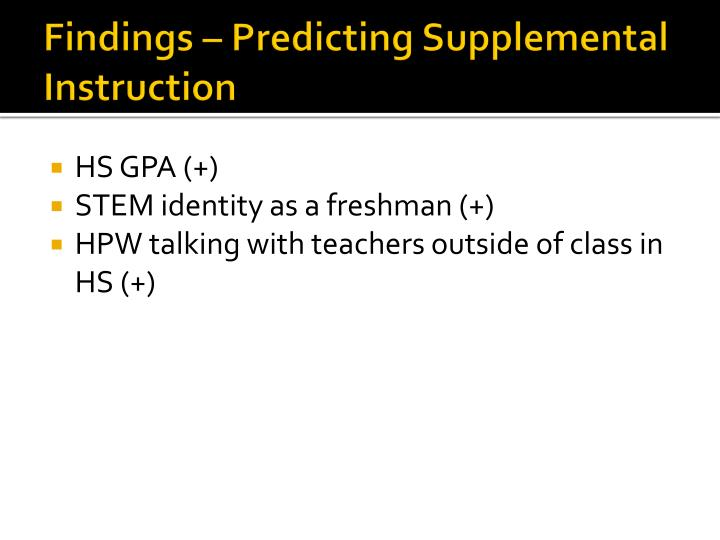 Findings – Predicting Supplemental Instruction