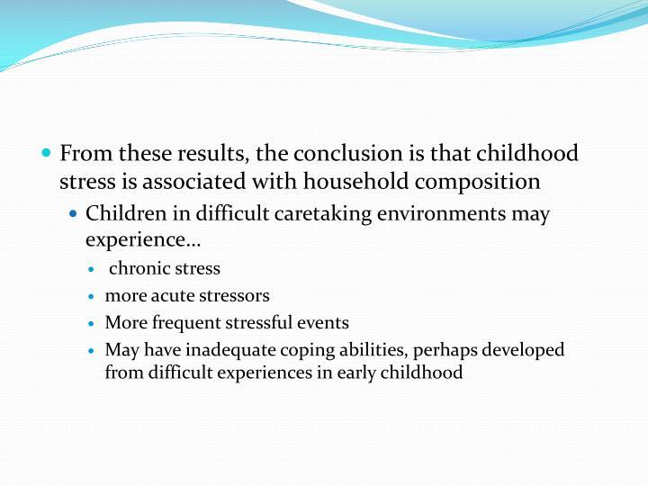 From these results, the conclusion is that childhood stress is associated with household composition