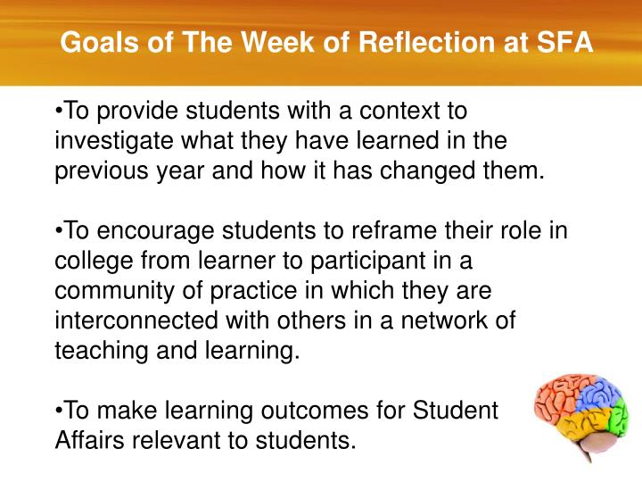 Goals of The Week of Reflection at SFA