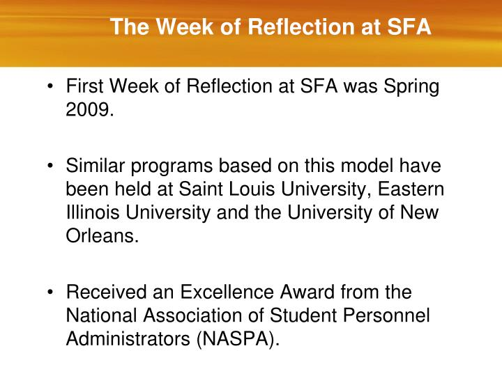 The Week of Reflection at SFA