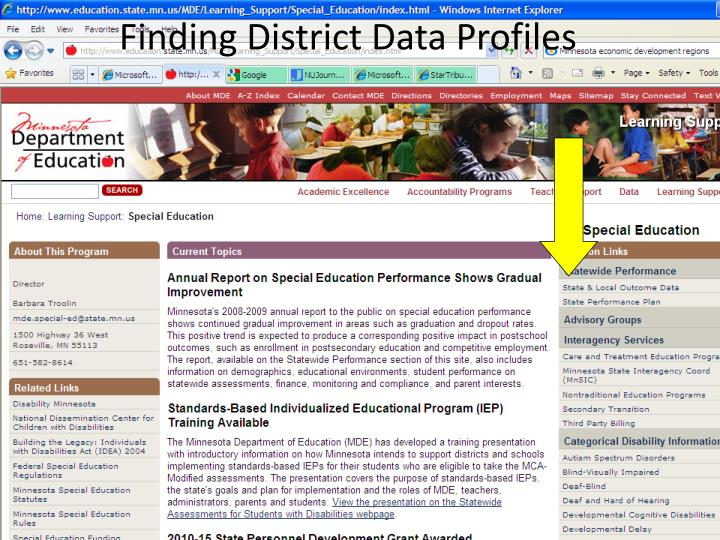 Finding District Data Profiles