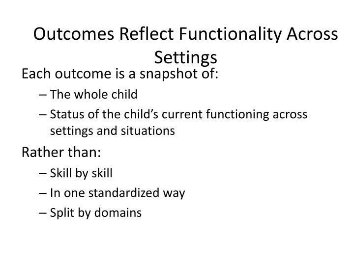 Outcomes Reflect Functionality Across Settings