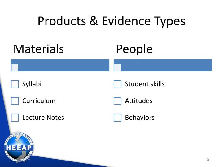 Products & Evidence Types