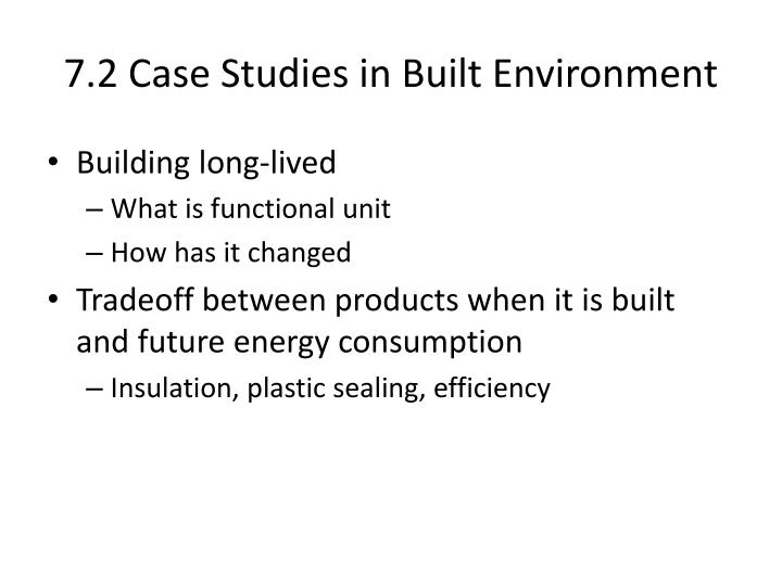 7.2 Case Studies in Built Environment