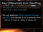 key differences from genprog3