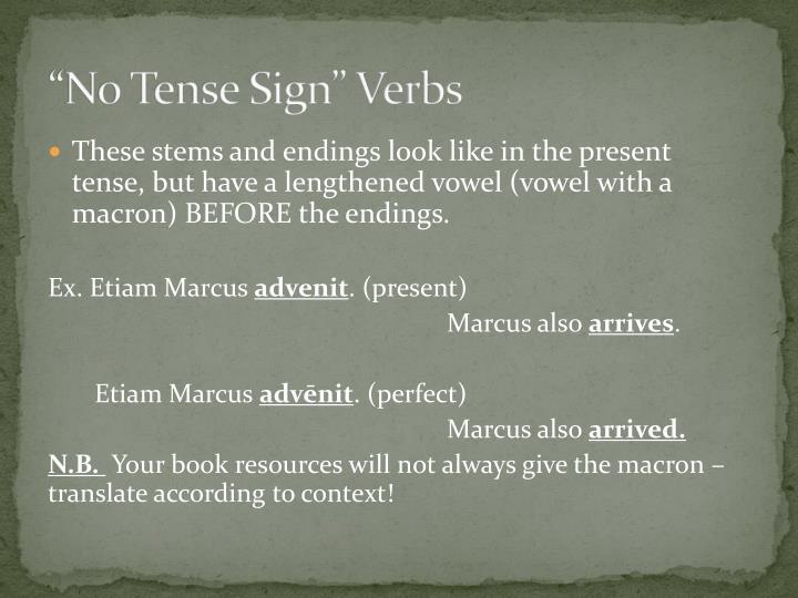 """""""No Tense Sign"""" Verbs"""