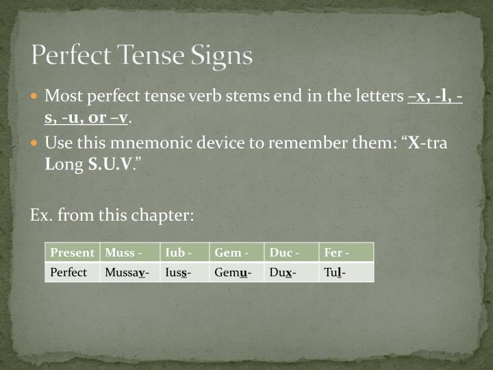 Perfect Tense Signs