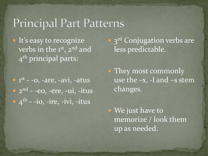 Principal Part Patterns