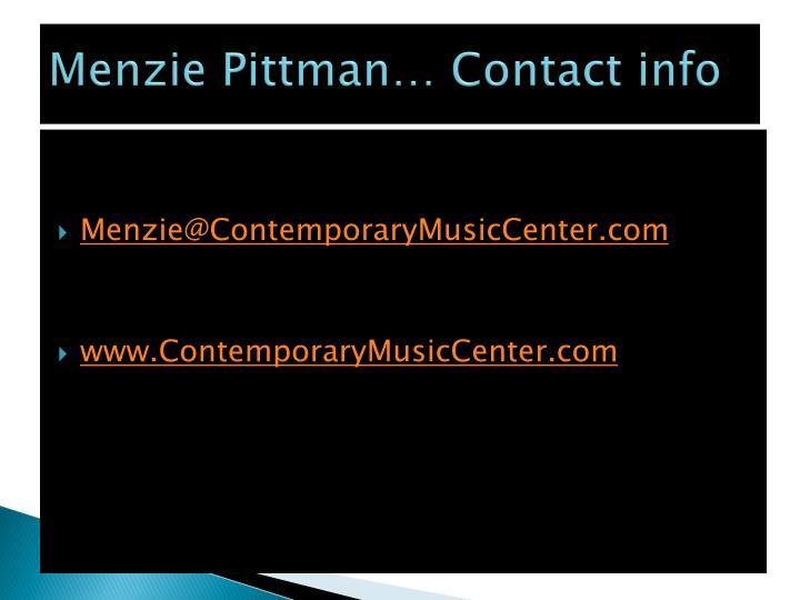 Menzie Pittman… Contact info