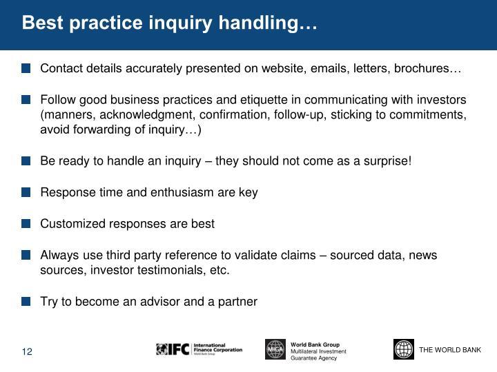 Best practice inquiry handling…