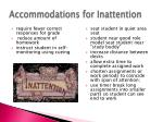 accommodations for inattention