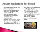 accommodations for mood