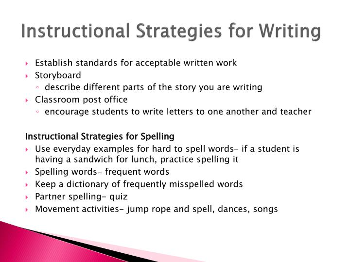 Instructional Strategies for Writing