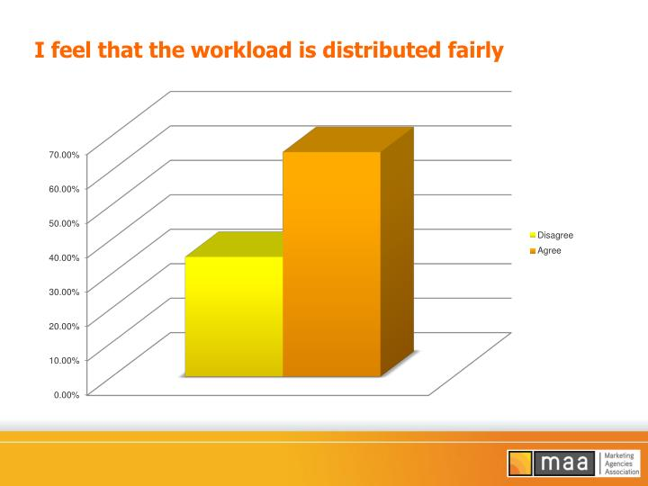 I feel that the workload is distributed fairly