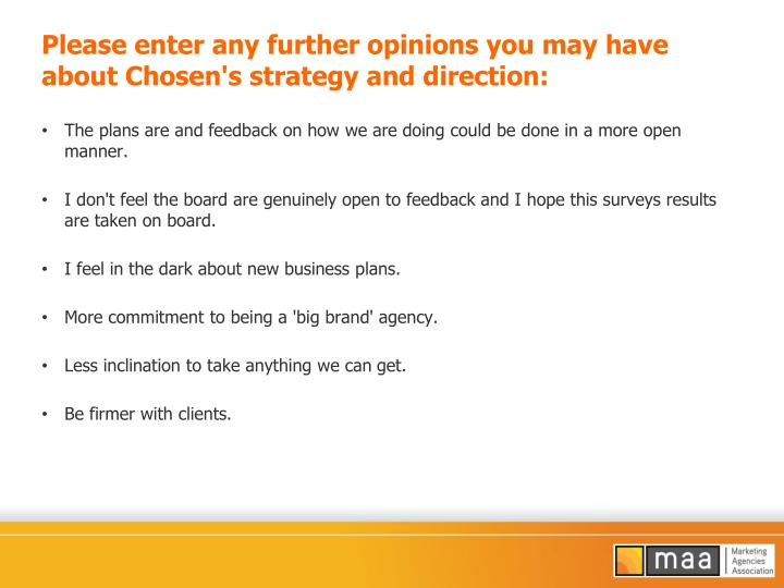 Please enter any further opinions you may have about Chosen's strategy and direction: