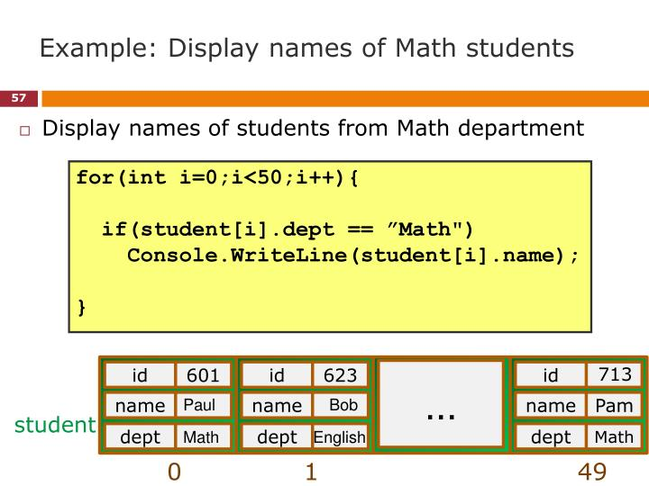 Example: Display names of Math students