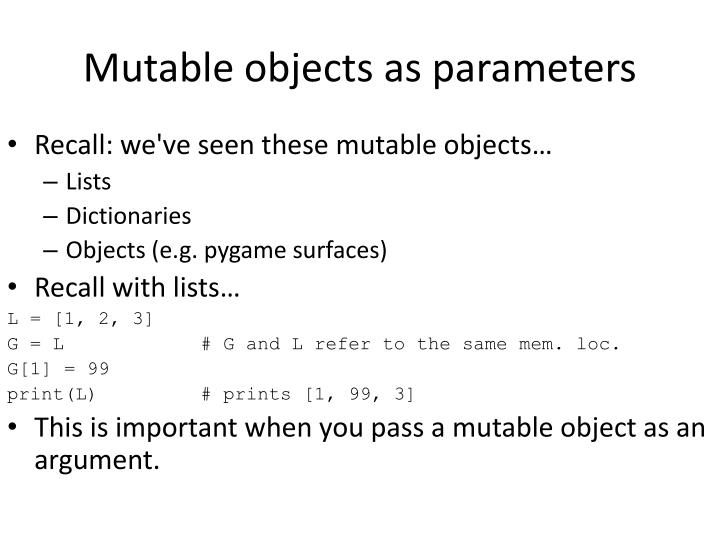 Mutable objects as parameters