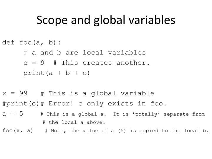 Scope and global variables