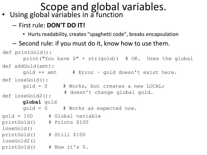 Scope and global variables.
