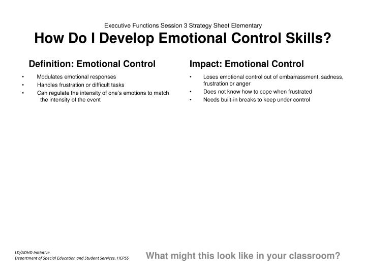Executive Functions Session 3 Strategy Sheet Elementary
