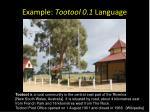 example tootool 0 1 language