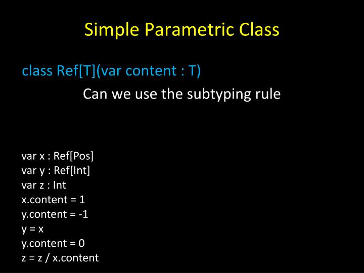 Simple Parametric Class