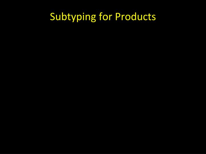 Subtyping for Products