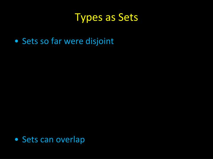 Types as Sets