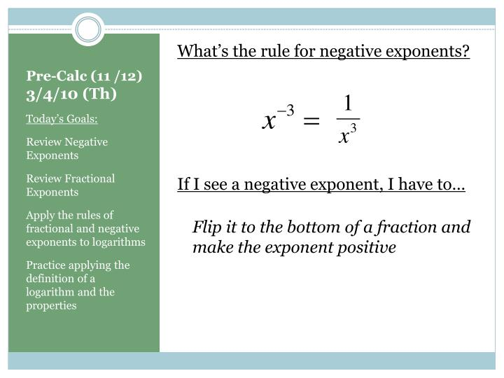 What's the rule for negative exponents?
